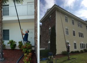 Gutter cleaning with SkyVac