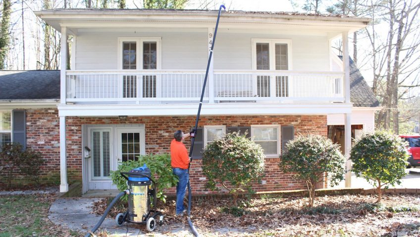 Gutter cleanings using SkyVac